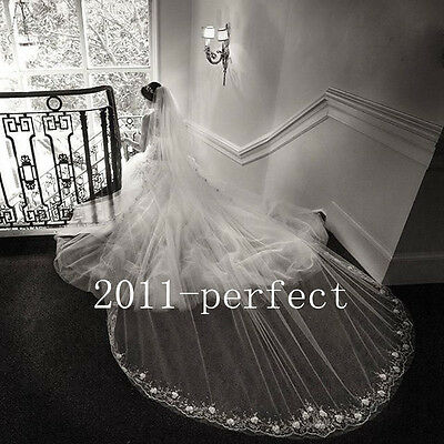 2017 Two Layers Wedding Veils Appliques Cathedral Beads Custom Made Bridal Veil