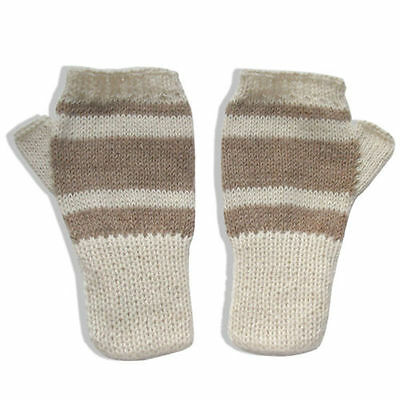 100% Alpaca Wool Knit Fingerless Mittens - Off White / Beige - S