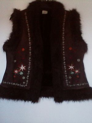 Ladies Brown Gilet Size 14 By Xe