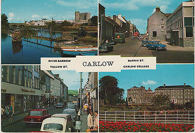 CARLOW EARLY 1970s CARDALL POSTCARD UN-POSTED 453 - TULLOW & BURRIN STREETS