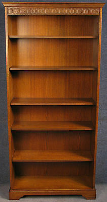 Tall Oak Bookcase / Bookshelves With Carved Frieze