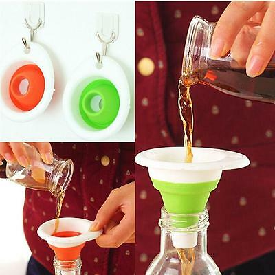 AD Silicone Gel Practical Foldable IC Funnel Cute Collapsible KitchenTool O2