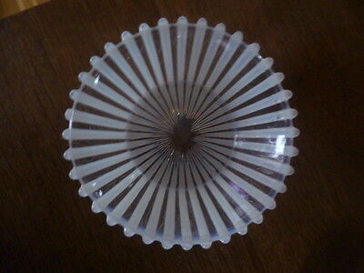 Antique Vintage Small Opalescent Vaseline Pearline Ribbed Glass Dish Bowl