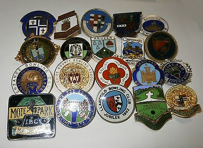 Collection of 20 UK Bowling Association Bowling Club Enamel Badges Bowls Lot 13