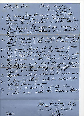 Nthumberland Fussiliers/Durham Light Inftry - hand written orders 1899 - signed