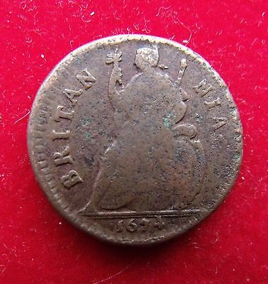 1674 Charles II Farthing Coin