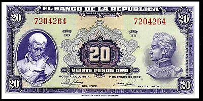 Colombia. 20 Pesos, DD 7204264, 1-1-1950, Almost Uncirculated-Uncirculated..