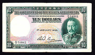 Straits Settlements $10 1935 King George V Note P.18b Crisp aVF