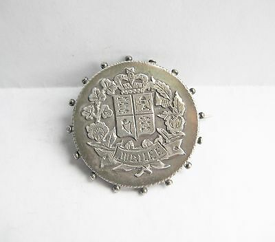 1887 Queen Victoria Jubilee Solid Silver Jubilee Badge Brooch Chester 1886