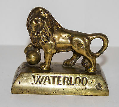 ANTIQUE BRASS WATERLOO LION commemorating the battle in 1815