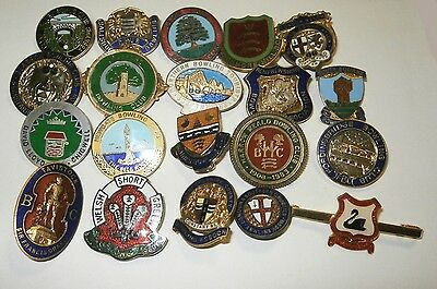 Collection of 20 UK Bowling Association Bowling Club Enamel Badges Bowls Lot 16