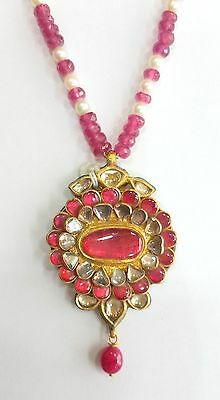 Vintage Antique solid 20K Gold jewelry Diamond Ruby Necklace Pendant amulet