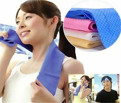 80x34cm Ice Cold Cool Sport Towel Blue Scarf Reuseable Cycling Jogging Golf 1Pcs