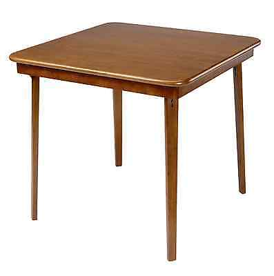 Stakmore Straight-Edge Solid Wood Brown Classic Style Folding Card Game Table