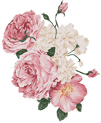 New! XL SoFt FLuFfY PinK RoSeS ShaBby DeCALs ~FuRNiTuRe SiZe~