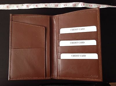TAN BROWN GENUINE REAL LEATHER CREDIT CARD CASE bifold WALLET NEW luxury quality
