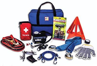 First Secure 90 Piece Roadside Emergency Car and Truck Kit with Safety Tools &