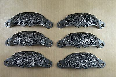 Set of 6 Victorian pattern cast iron drawer pull furniture handle cabinet ALR17