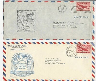 U.S. 1946-47 - Special Airmail Covers - First Flight & Continental Airlines