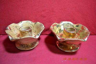Pair of Gold Brush Candlestick Holders 4069