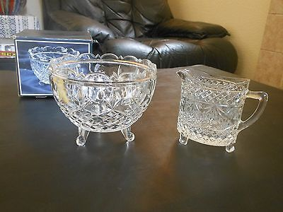 24% Lead Crystal Glass Footed BOWL NEW label box & OVAL Creamer JUG Shabby Chic
