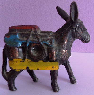 """Vintage Metal Donkey (Pack Mule) 1950's Approximately 2.1/2"""" High"""