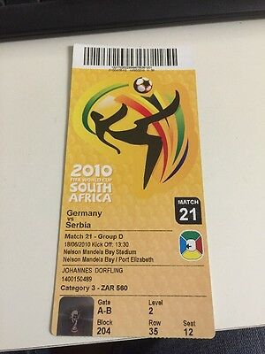 Germany V Serbia World Cup Finals Ticket 2010 Match 21