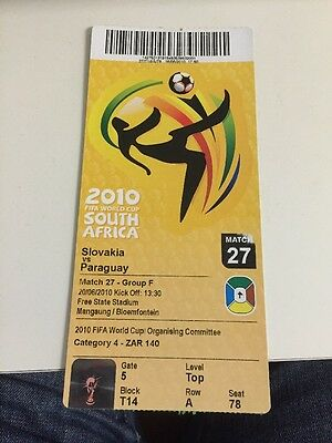 SLOVAKIA V PARAGUAY WORLD CUP FINALS TICKET 2010 Match 27