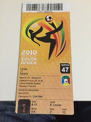 CHILE V SPAIN WORLD CUP FINALS TICKET 2010 Match 47