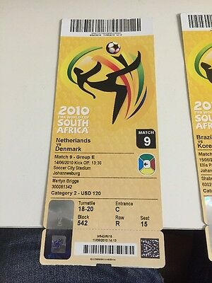 HOLLAND V DENMARK  WORLD CUP FINALS TICKET 2010 Match 9 UNUSED