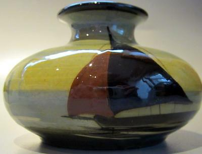 Torquay Devon Watcombe Art Pottery Ware  Vase with Sailing Ships