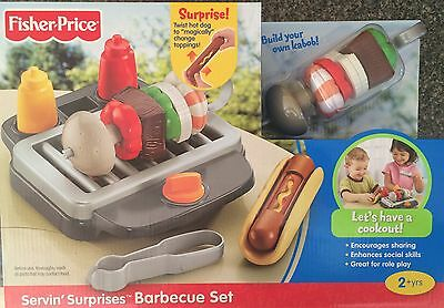 Fisher-Price Serving Surprises Barbecue Grill Play Food Set Hot Dog BBQ