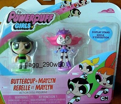 *The Powerpuff Girls* BUTTERCUP & MAYLYN ACTION DOLLS 2 PACK with STANDS