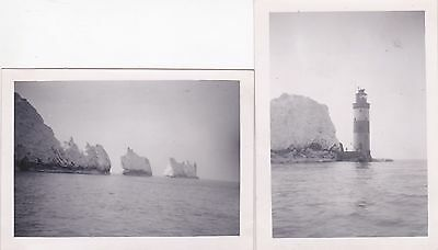 2 OLD PHOTOS BUILDINGS NEEDLES LIGHTHOUSE ISLE OF WIGHT 1950s OC411