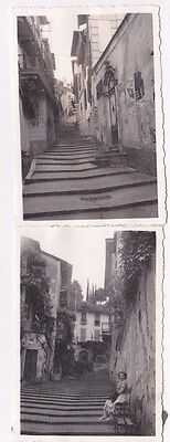 2 OLD PHOTOS GLAMOUR WOMAN FASHION BUILDINGS BELLAGIO ITALY 1950s OC404