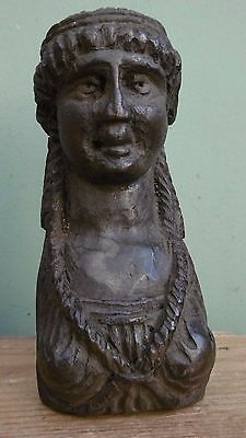 SUPERB 19thc OAK CARVED  CORBEL OF A FEMALE BUST WITH RINGLETS C.1860 (2)