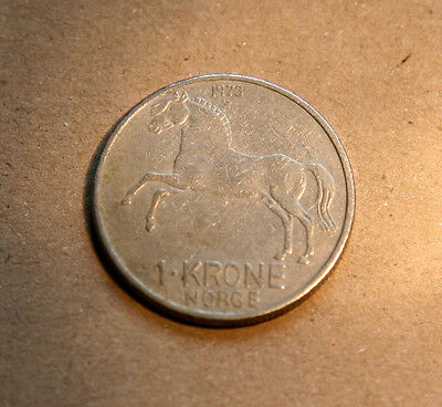 Norwegian 1 Krone Silver Coin Dated 1973