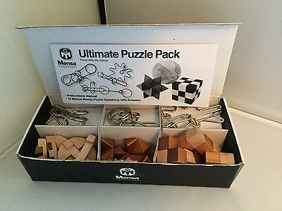 Ultimate IQ Test - Set of 6 Puzzles. 3 Wooden And 3 Metal.Great stocking filler.