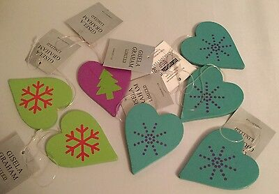 Gisela Graham Christmas decorations wooden Hearts New X 7