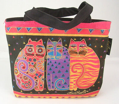 Laurel Burch Cats Zippered Tote Bag Black and Hot Pink 11.5 x 8.75 x 3