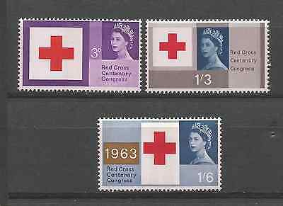 Great Britain 1963 Red Cross Phosphor Set Mint Hinged