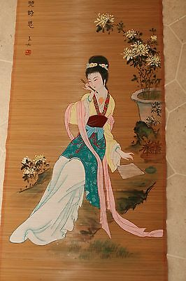 Vintage Oriental Rolled Rattan Wall Hanging 18x52 Painting Woman Writing Letter