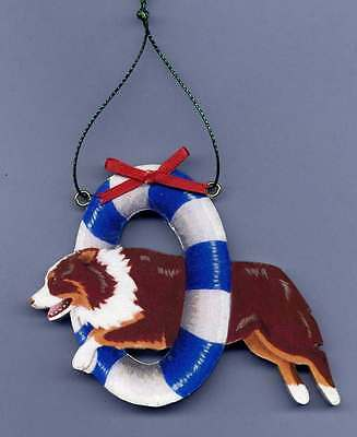 AUSTRALIAN SHEPHERD Wooden AGILITY ORNAMENT - Red-tri - Hand Crafted!