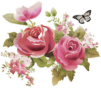 XXL WaTerCoLoR RoSeS & BuTTeRFLY ShaBby WaTerSLiDe DeCAL ~FuRNiTuRe SiZe~