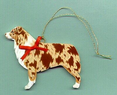 AUSTRALIAN SHEPHERD Wooden Dog ORNAMENT - Red Merle - Hand Crafted - w/name!