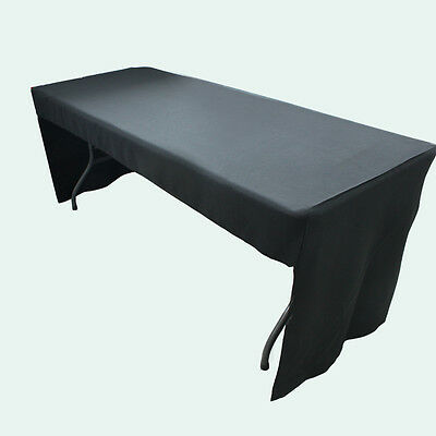 1x 6ft Fitted Black 3 sided Rectangular Trestle Exhibition Tablecloth