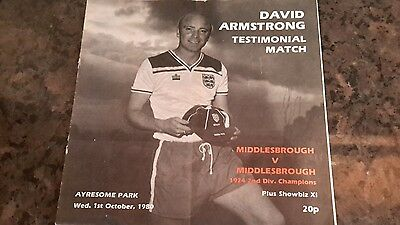 David Armstrong (Middlesbrough)Testimonial Match Programme. 1st October 1980