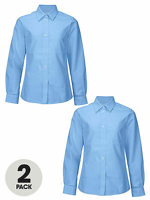 Top Class Girls Pack of Two Long Sleeved Shirts In Blue Size 3-4 Years