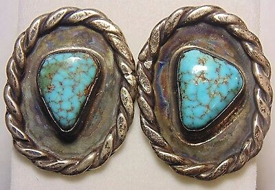 Old Pawn Vintage Navajo Native American Sterling Silver 925 Turquoise Cufflinks