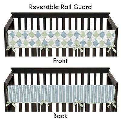 Jojo Blue Green Argyle Front Rail Guard Crib Cover Baby Teething Protector Wrap